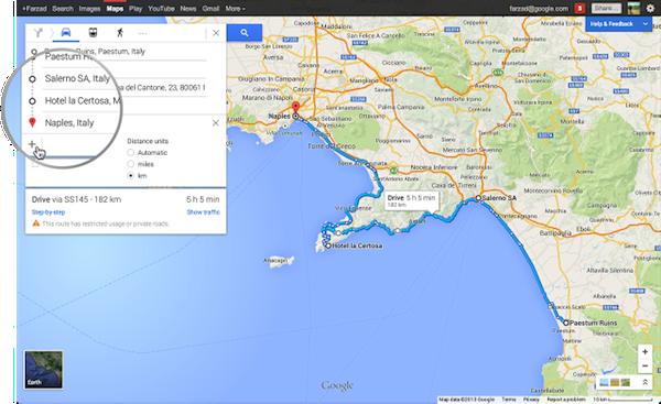Promozione sito Web : pianificare-viaggio-googlemap