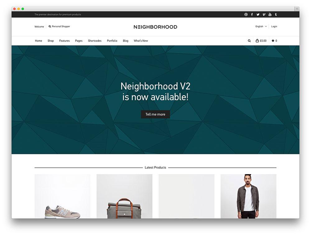 Neighborhood tema ecommerce wordpress tema woocommerce