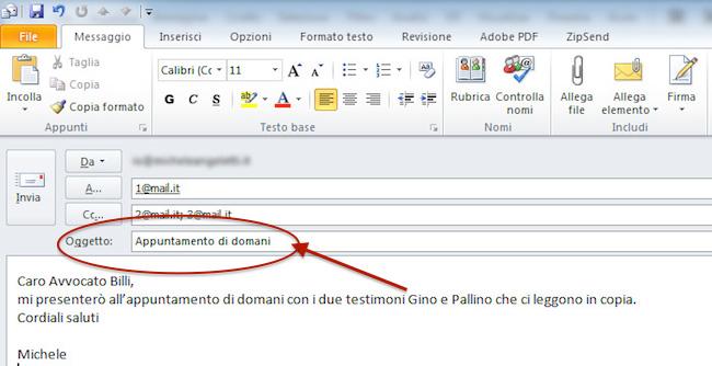 campo-oggetto email