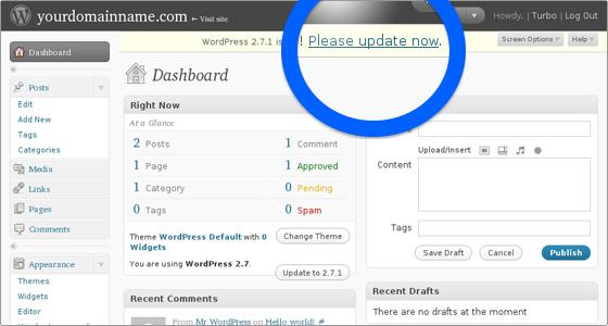 aggiornare WordPress