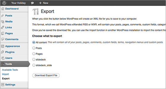export-tool-wordpress
