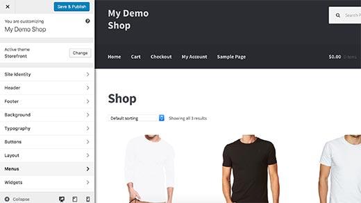 personalizzare tema ecommerce