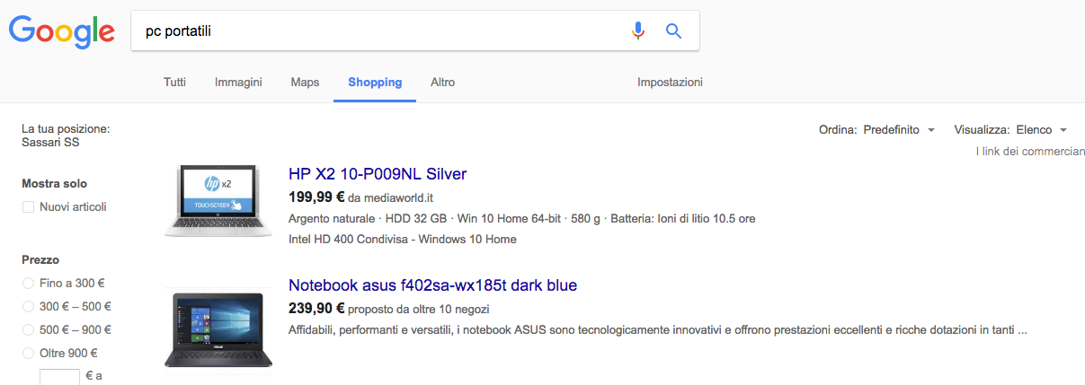 utilizzare google shopping concorrenza