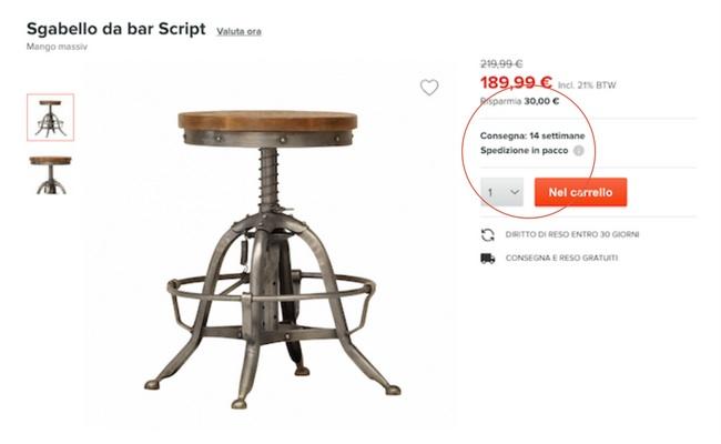 costi consegna prezzo