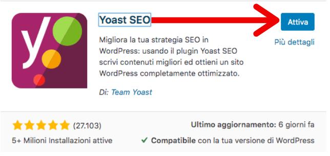 attiva yoast sito web