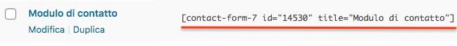 copia shortcode modulo contatto