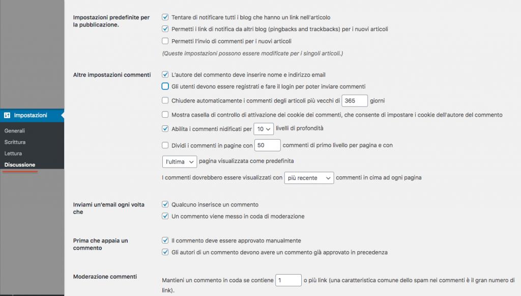 impostazioni commenti wordpress