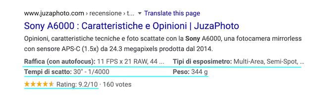 sonya6 dati strutturati risultato google