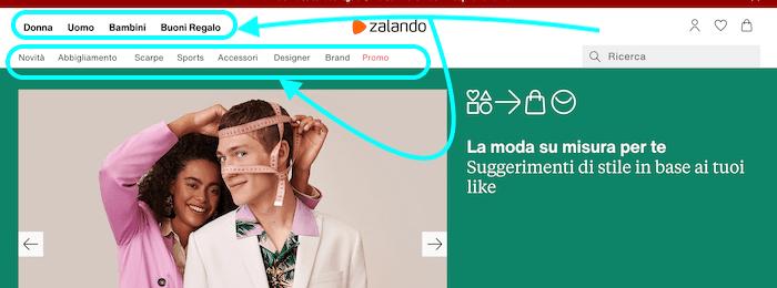 menu sito web zalando