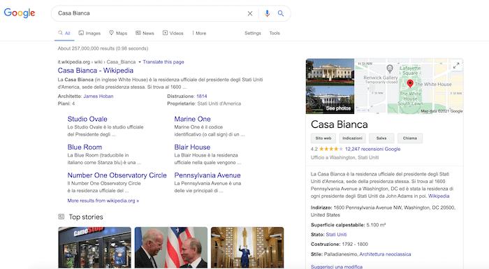 casa bianca serp google