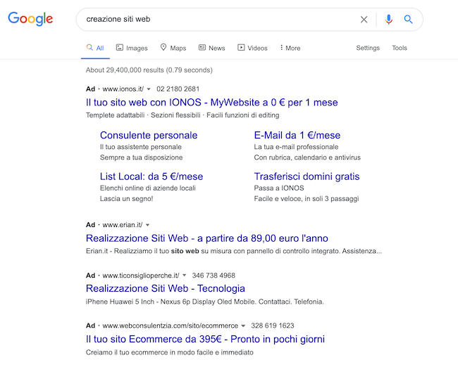 serp google che mostra risultati creazione siti web
