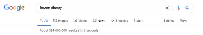 google opzioni ricerca frozen