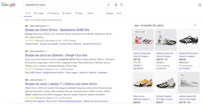 serp google che mostra scarpette da calcio
