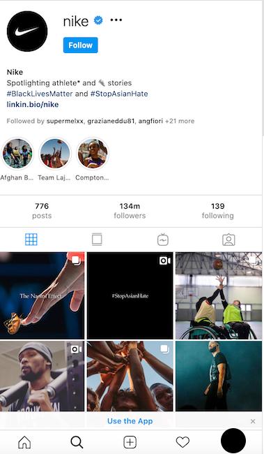 La pagina Instagram di Nike