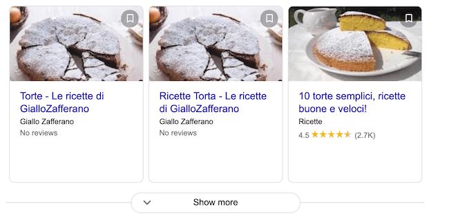 risultati carosello google