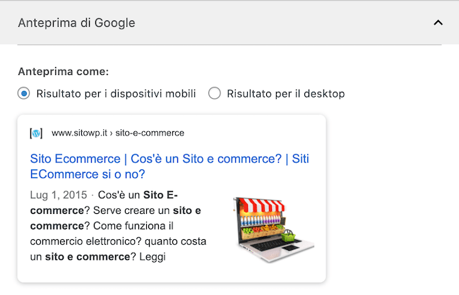 anteprima google snippet