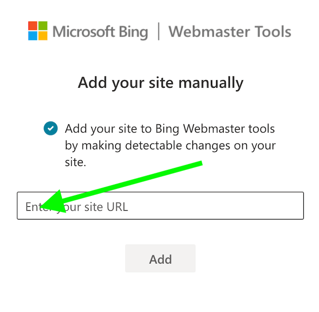 inserisci url sito bing