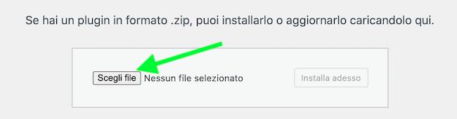 scegli file wordpress