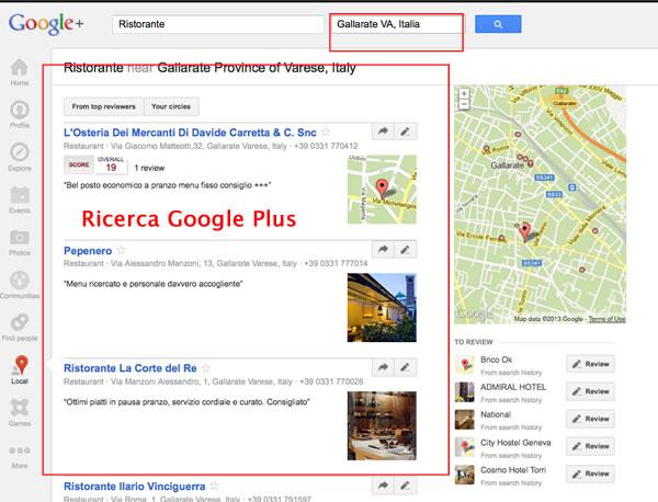 ricerca con google +